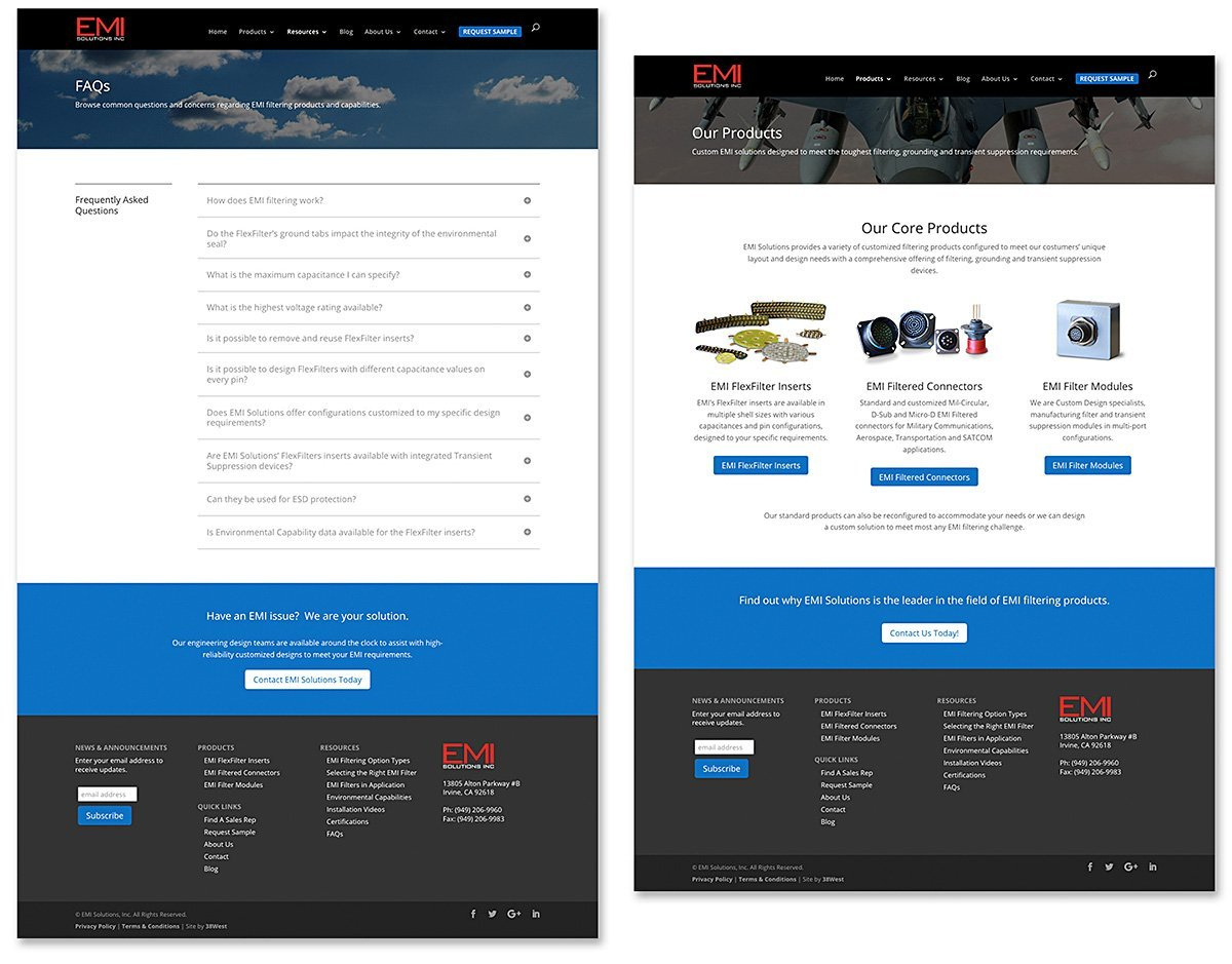 Responsive website design for EMI Solutions Inc., Irvine, CA | 38West Best Web Design & Creative Marketing Agency in Orange County, CA