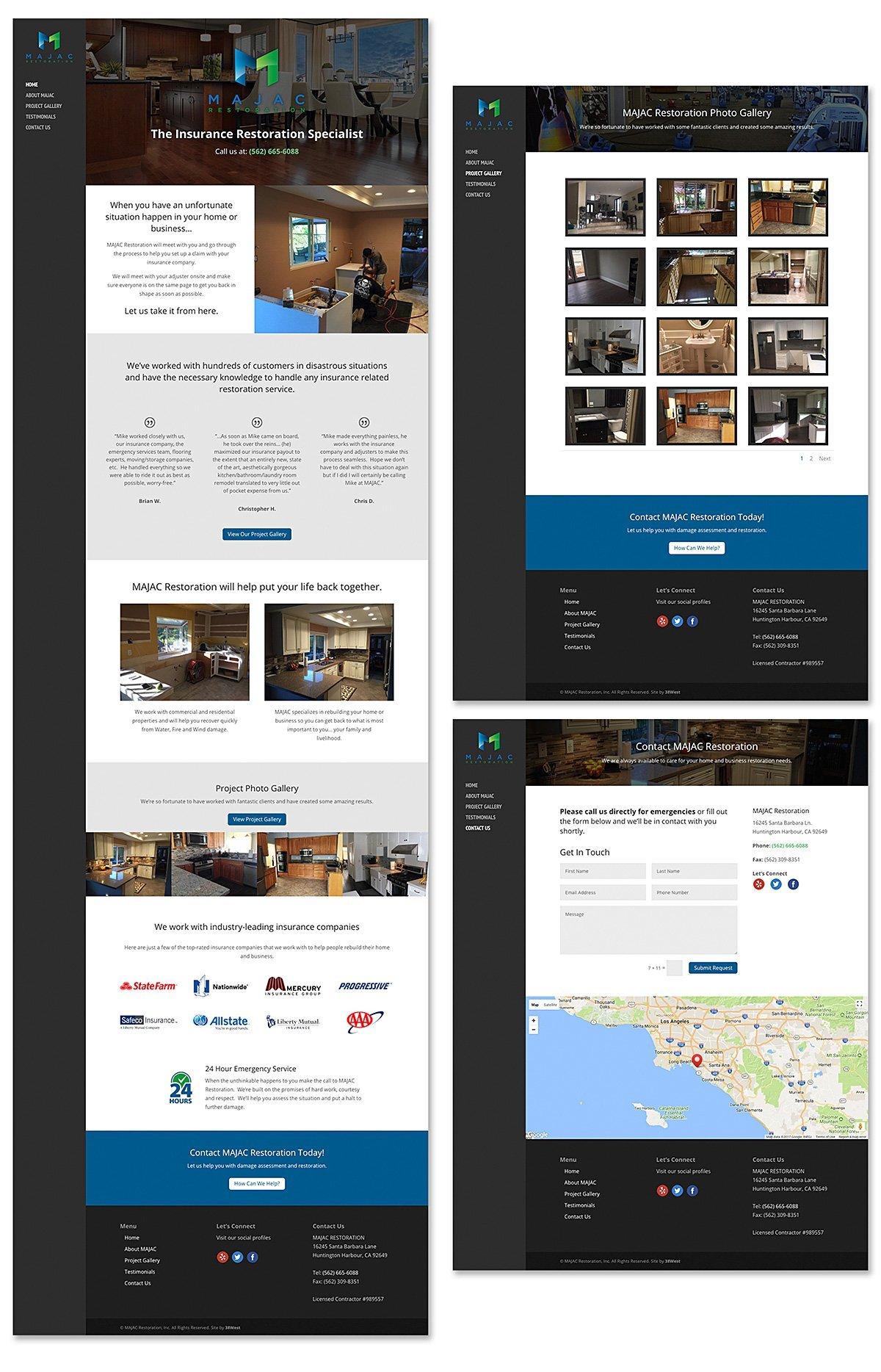 Responsive website design for MAJAC Restoration, Huntington Harbour, CA | 38West Best Web Design & Creative Marketing Agency in Orange County, CA