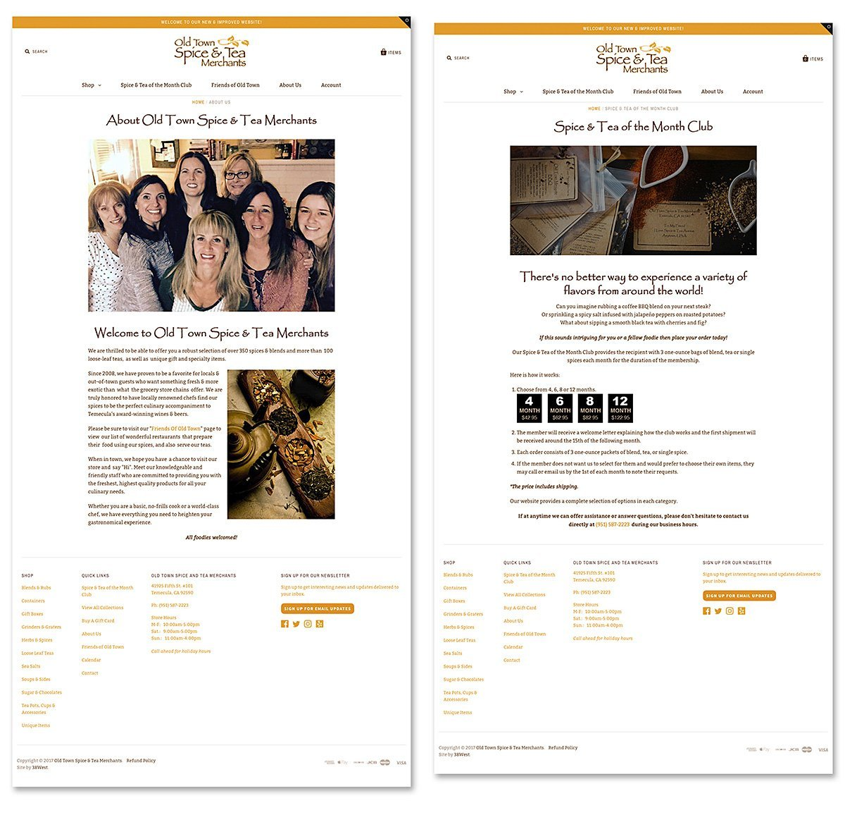 Responsive website design for Old Town Spice and Tea Merchants, Temecula, CA | 38West Best Web Design & Creative Marketing Agency in Orange County, CA
