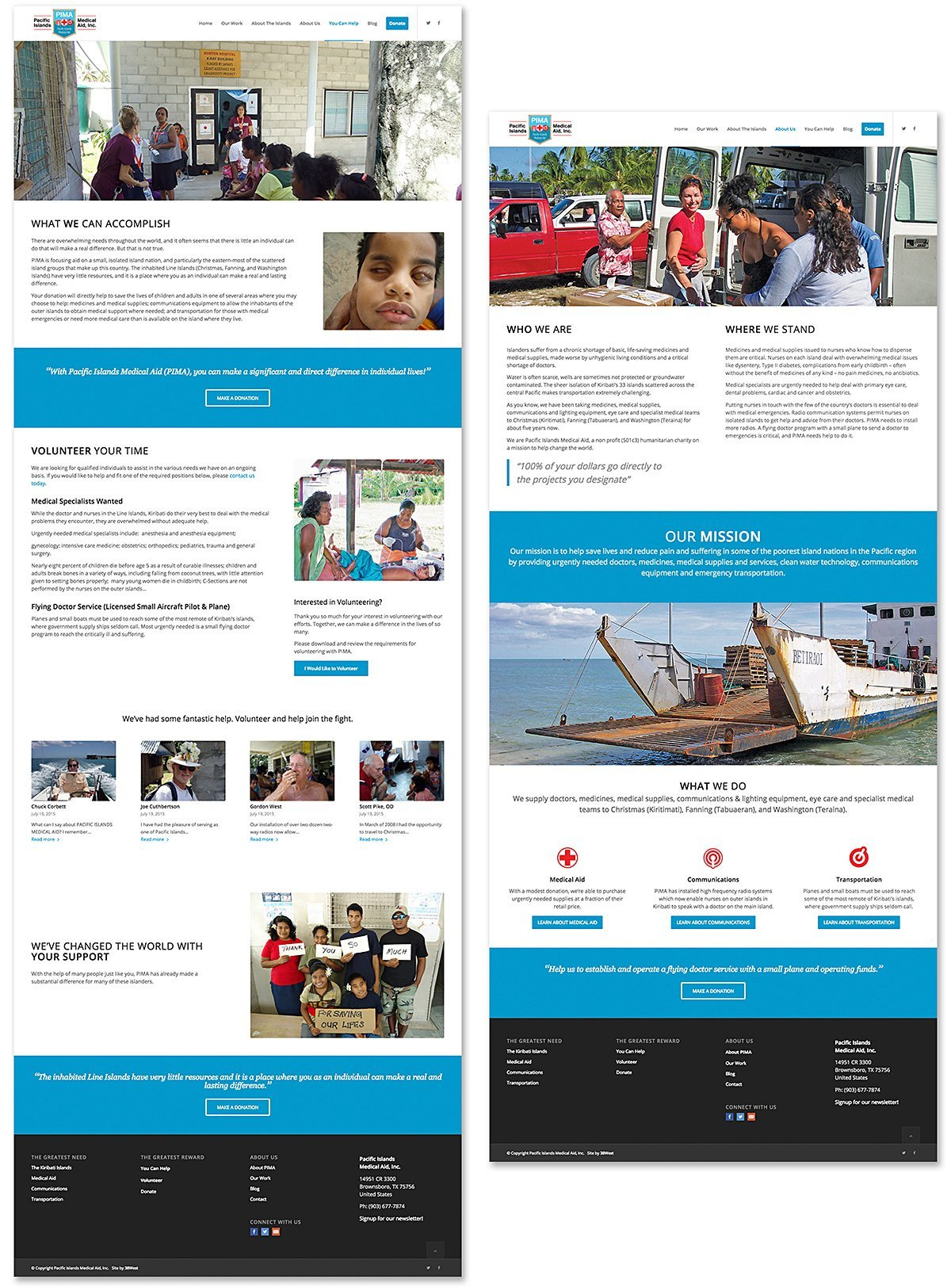 Responsive website design and print material for Pacific Islands Medical Aid, Brownsboro, TX | 38West Best Web Design & Creative Marketing Agency in Orange County, CA