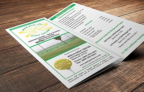 Ayala Golf Center tri-fold brochure | 38West Web Design & Creative Marketing Agency in Orange County, CA